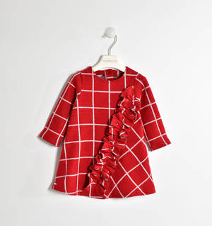 Tricot effect checked dress with ruffles RED