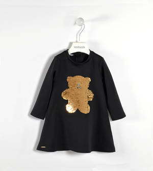 Milano stitch dress with sequined bear BLACK