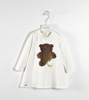 Milano stitch dress with sequined bear CREAM