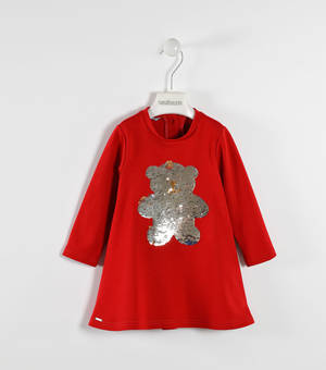 Milano stitch dress with sequined bear RED