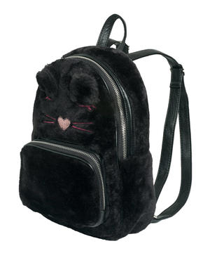 Faux fur backpack  BLACK