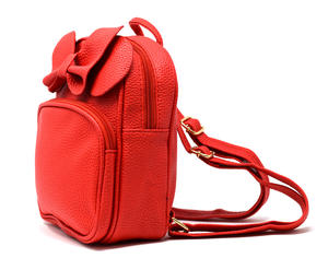Faux leather backpack with bow RED