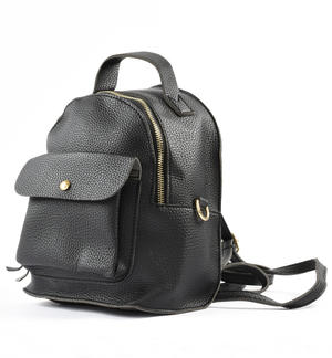 Faux-leather backpack BLACK