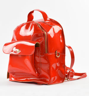 Faux-leather backpack RED
