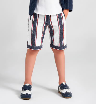 Stretch cotton Bermuda shorts for boy with welt pockets BLUE