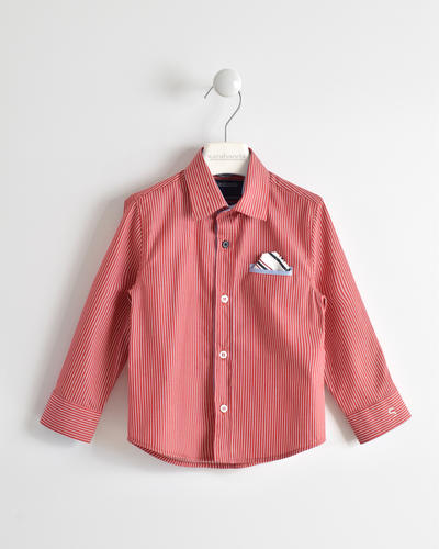 Boy shirt 100% cotton with welt pocket with handkerchief RED