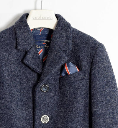 Elegant coat made in boiled wool with handkerchief BLUE