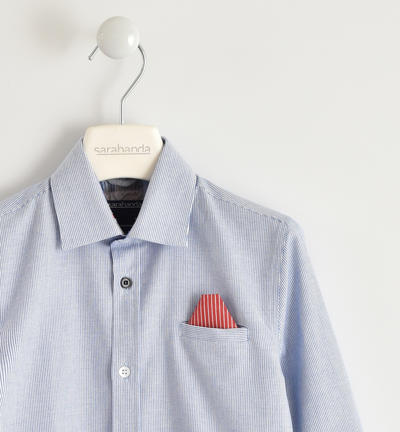 Elegant boy shirt 100% cotton micro operated with pocket with handkerchief BLUE