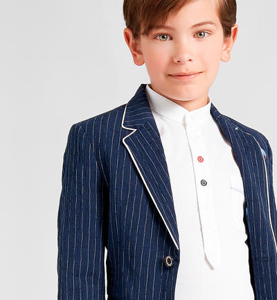 Stylish and refined stretch cotton pinstripe boy jacket BLUE