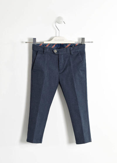 Refined trousers in woven melange fabric BLUE