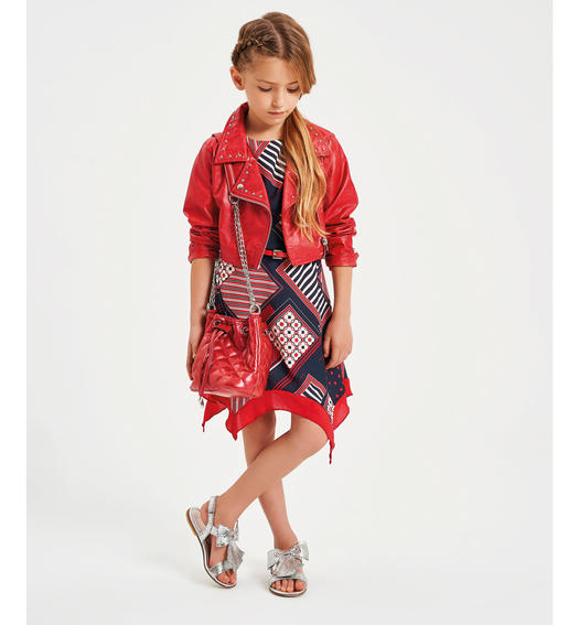 Scarf print dress for girl from 6 to 16 years Sarabanda BIANCO-MULTICOLOR-6MQ6