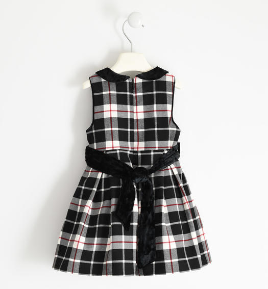 Check dress with chenille details for girl from 6 months to 7 years Sarabanda NERO-0658