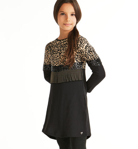 Dress with a sequin-covered tulle band and faux leather fringes with small studs for girls from 6 to 16 years Sarabanda NERO-0658