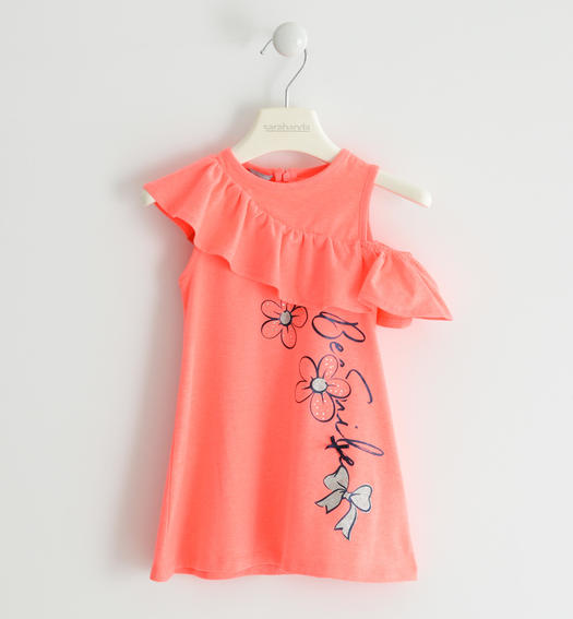 Sarabanda dress with asymmetrical ruffle for girl from 6 months to 7 years CORALLO FLUO-5824