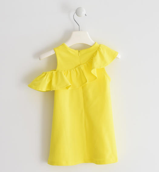 Sarabanda dress with asymmetrical ruffle for girl from 6 months to 7 years GIALLO-1434
