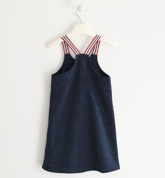 Sarabanda fashion dress with straps in striped tape for girl from 6 to 16 years NAVY-3885