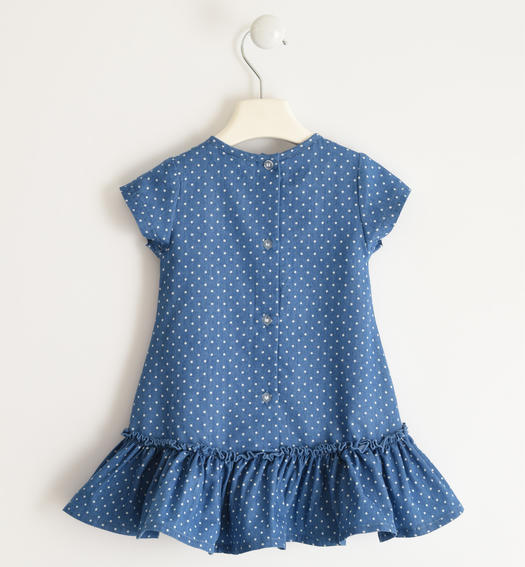 Micro polka dot chambray dress with sequined heart pocket for baby girl from 6 months to 7 years Sarabanda STONE WASHED CHIARO-7400