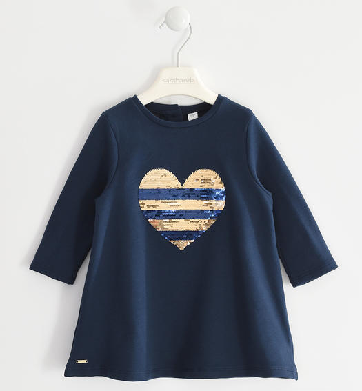 Fleece dress with reversible sequin heart for girl from 6 months to 7 years Sarabanda NAVY-3885