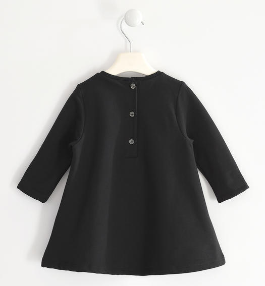 Fleece dress with reversible sequin heart for girl from 6 months to 7 years Sarabanda NERO-0658