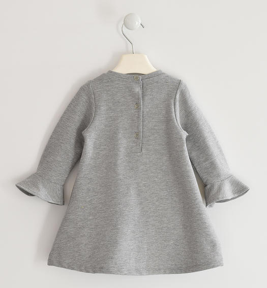 Fleece dress with faux fur pockets for girl from 6 months to 7 years Sarabanda GRIGIO MELANGE-8867