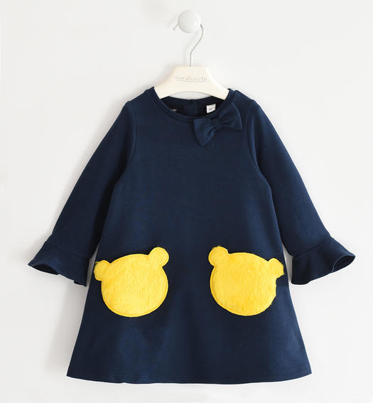 Fleece dress with faux fur pockets for girl from 6 months to 7 years Sarabanda NAVY-3885