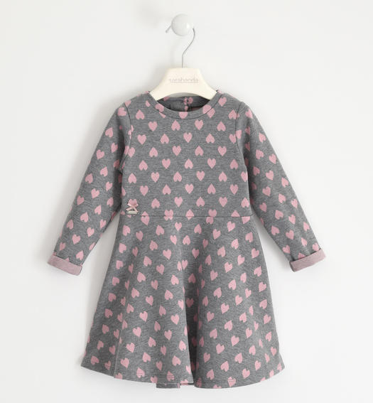 Knitted dress with hearts for girl from 6 months to 7 years Sarabanda GRIGIO MELANGE-8867