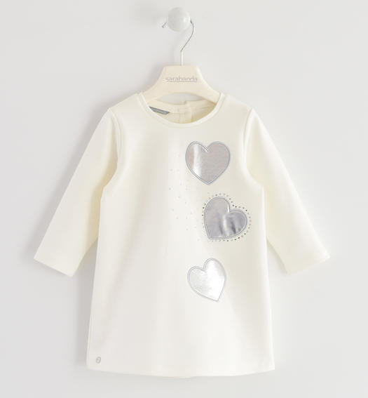 Dress made in Milano stitch for baby girls from 6 months to 7 years Sarabanda PANNA-0112