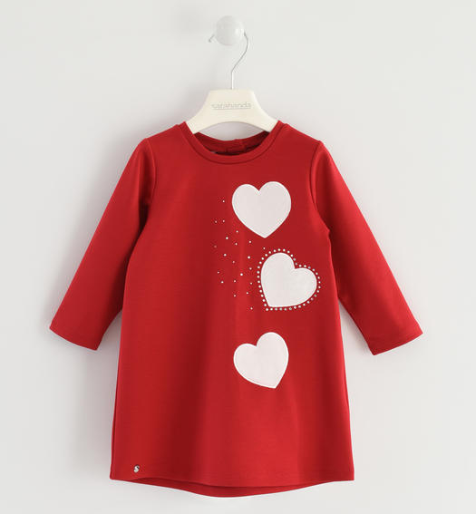 Dress made in Milano stitch for baby girls from 6 months to 7 years Sarabanda ROSSO-2253