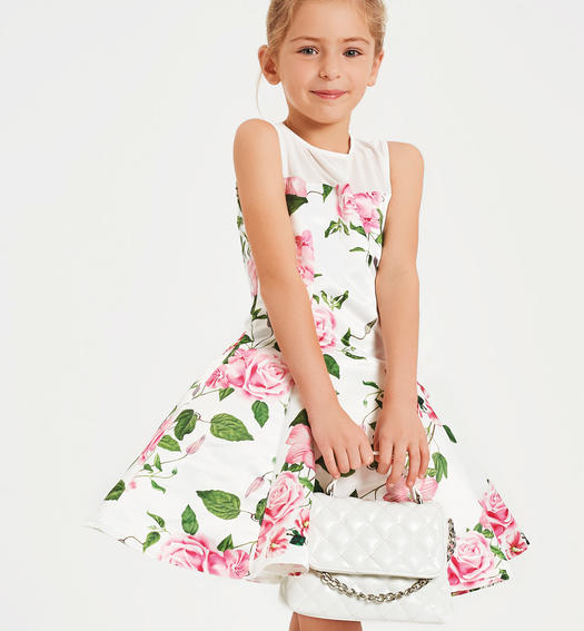 Printed satin wedding dress for girl from 6 to 16 years Sarabanda PANNA-MULTICOLOR-6MT7