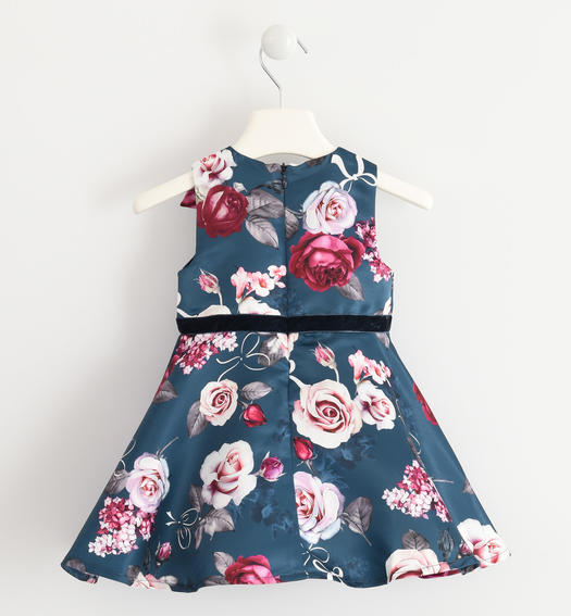 Elegant sleeveless dress made of satin with a floral pattern for baby girls from 6 months to 7 years Sarabanda PANNA-BLU-6LL7