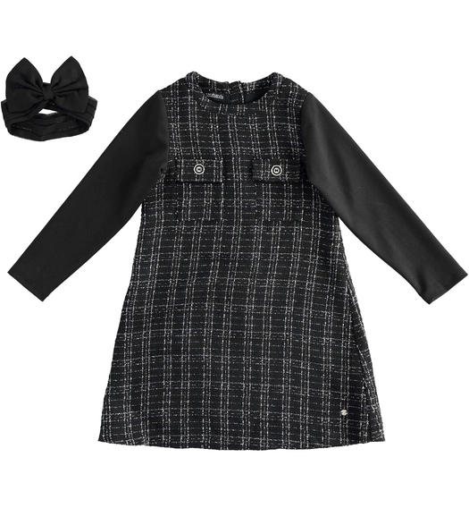 Chanel effect fabric dress with detachable collar for girl from 6 to 16 years Sarabanda NERO-0658
