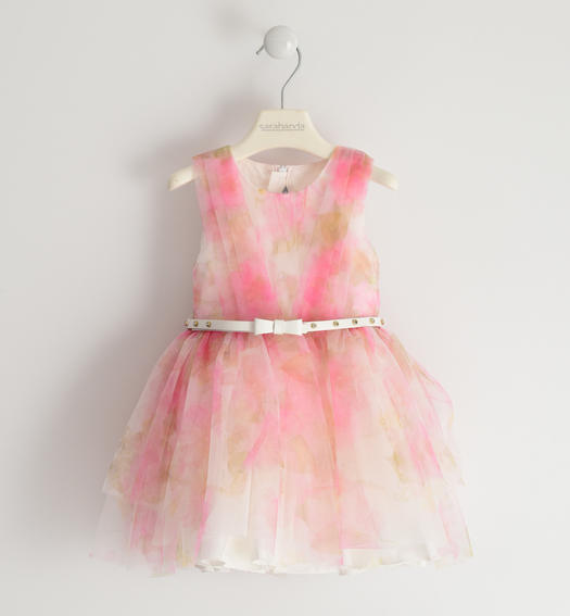 Dress made in tulle printed with floral pattern for baby girl from 6 months to 7 years Sarabanda PANNA-FUCSIA-6MU1