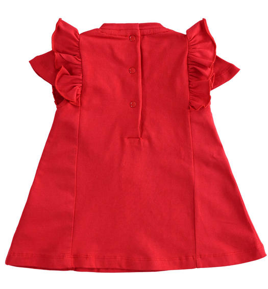 Stretch cotton jersey half sleeve baby girl dress from 0 to 24 months Minibanda ROSSO-2256