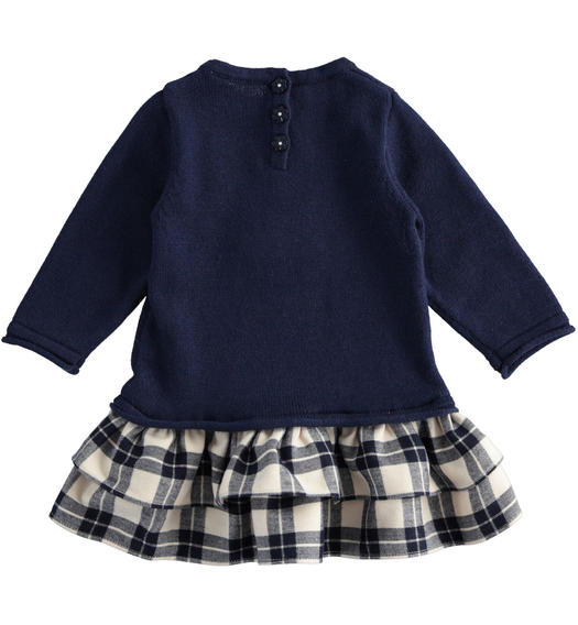 Mix fabric dress with kitten and check fabric skirt for newborn girl from 0 to 24 months Minibanda NAVY-3854