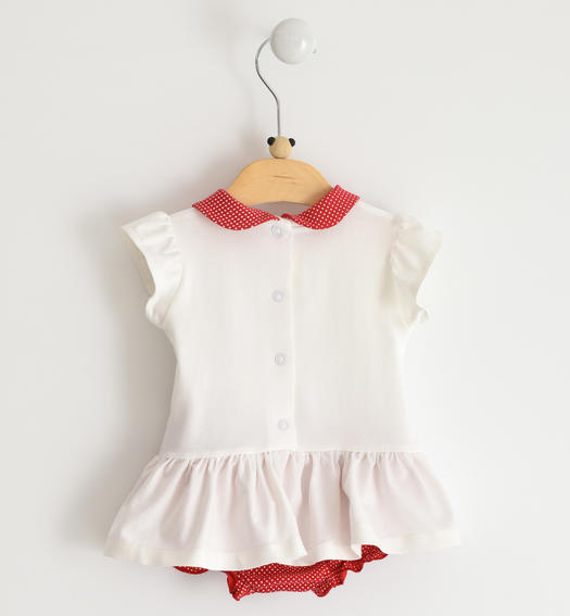 Newborn girl stretch cotton romper dress with red butterflies details and rhinestones for baby girl from 0 to 24 months Minibanda BIANCO-0113