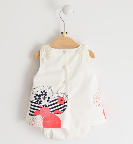 Newborn romper dress of fresh stretch cotton fabric with bows for baby girl from 0 to 24 months Minibanda BIANCO-0113