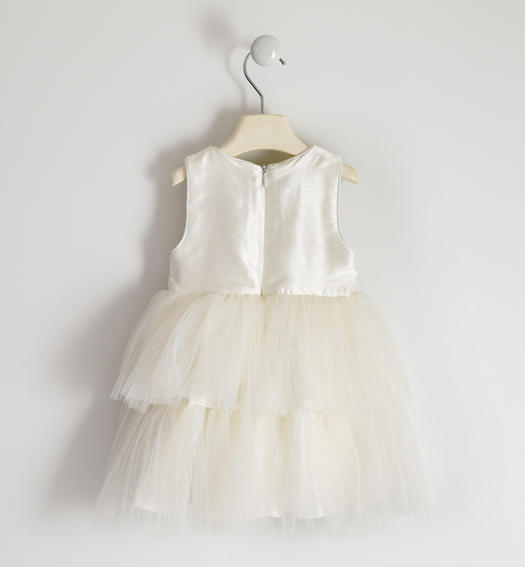 Sleeveless dress with micro sequin bodice and tulle skirt for girl from 6 months to 7 years Sarabanda PANNA-0112