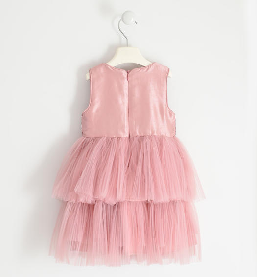 Sleeveless dress with micro sequin bodice and tulle skirt for girl from 6 months to 7 years Sarabanda ROSA-3031