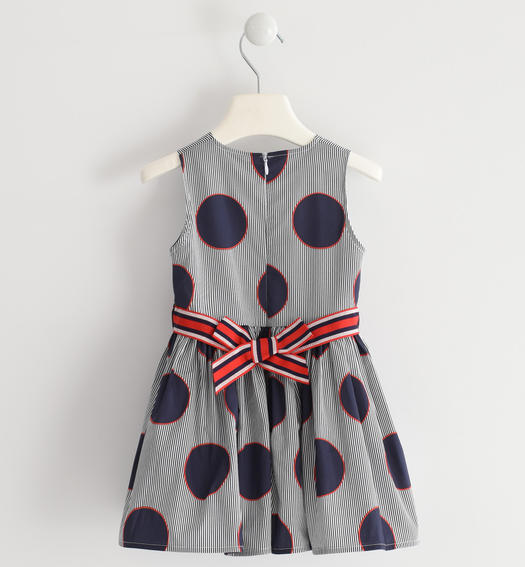 Sarabanda sleeveless dress in striped poplin and polka dots for girl from 6 months to 7 years NAVY-3854