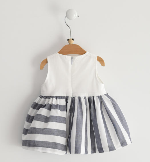 Cotton poplin sleeveless baby girl dress with top with maxi bow for baby girl from 0 to 24 months Minibanda NAVY-3854