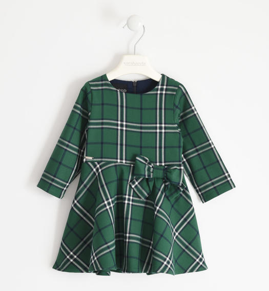 Tartan fabric dress with bow for girl from 6 months to 7 years Sarabanda VERDE-4726
