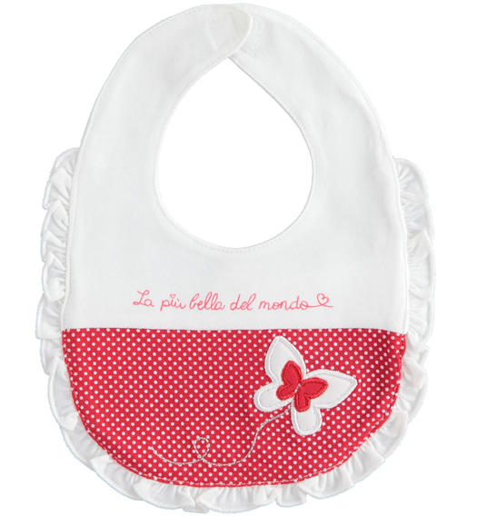 Newborn girl bicolour stretch cotton bib for baby girl from 0 to 24 months Minibanda BIANCO-0113