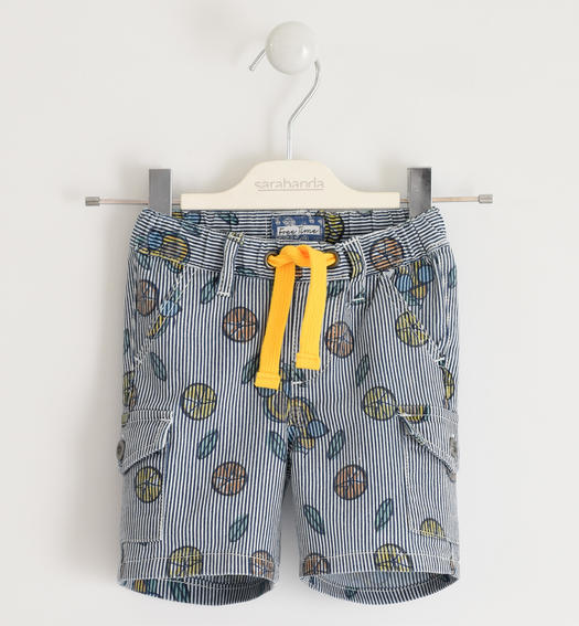 Bermuda shorts in seersucker effect fabric for baby boy from 6 months to 7 years Sarabanda NAVY-MULTICOLOR-6MU6