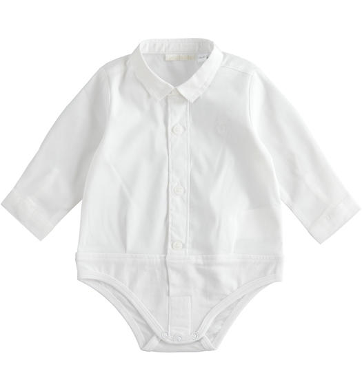 Long-sleeved baby boy body of stretch cotton blend poplin for baby boy from 0 to 24 months Minibanda BIANCO-0113