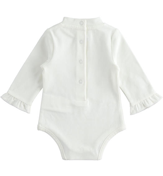 Newborn girl body with ruffles on the sleeve bottom from 0 to 24 months Minibanda PANNA-0112