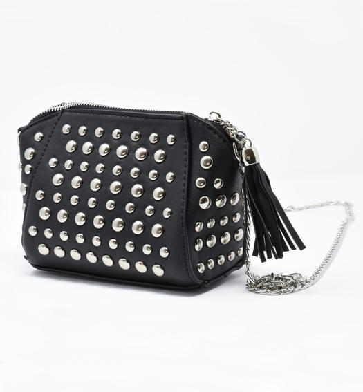 Black faux leather handbag with studs for girls from 6 to 16 years Sarabanda NERO-0658