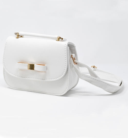 Patent leather bag with bow and golden plate for girls from 6 to 16 years Sarabanda PANNA-0112