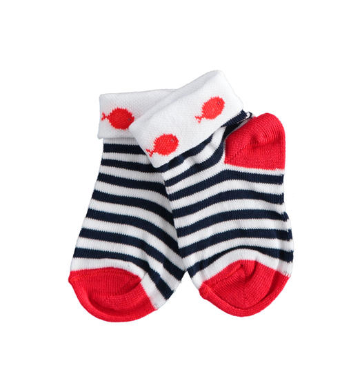 Stretch cotton blend baby socks for babies from 0 to 24 months Minibanda NAVY-3854