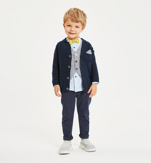 Sarabanda 100% cotton shirt with bow tie and pochette for boy from 6 months to 7 years AZZURRO-3674