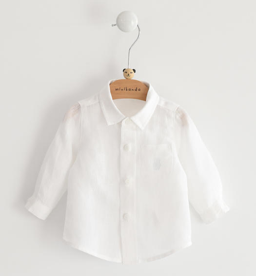 Short-sleeved 100% linen baby boy shirt from 0 to 24 months Minibanda BIANCO-0113